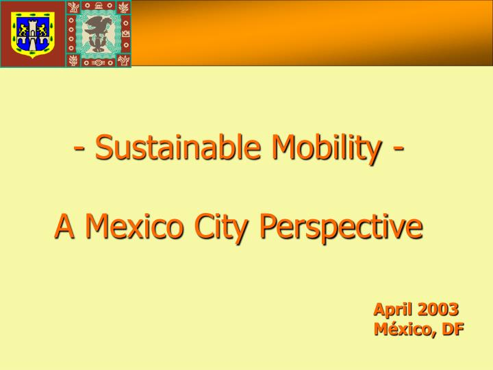 - Sustainable Mobility -