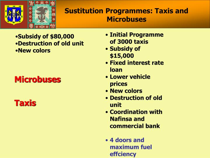 Sustitution Programmes: Taxis and Microbuses