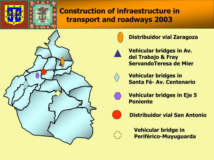 Construction of infraestructure in transport and roadways 2003