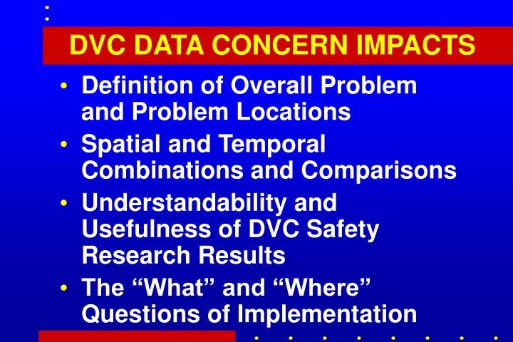 DVC DATA CONCERN IMPACTS