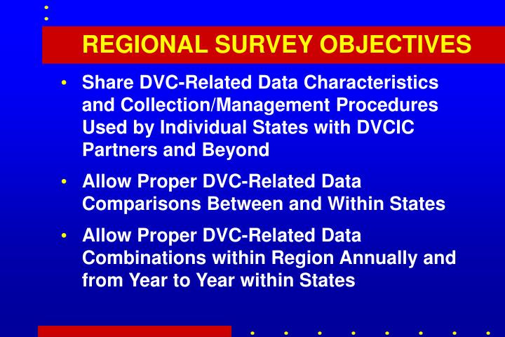 REGIONAL SURVEY OBJECTIVES