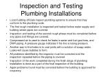 inspection and testing plumbing installations