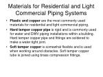 materials for residential and light commercial piping systems