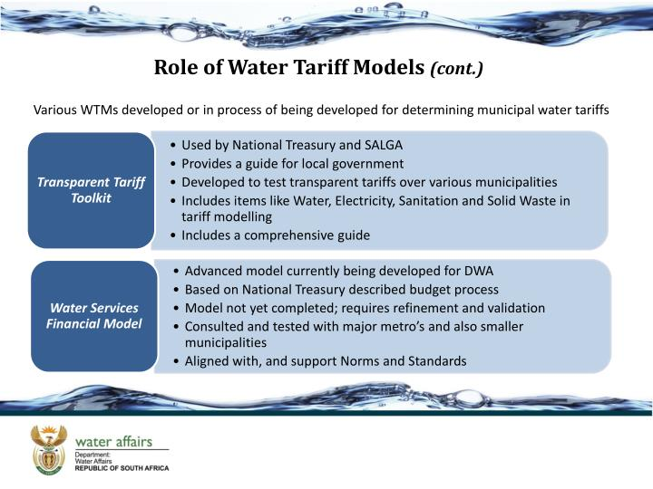 Role of Water Tariff Models