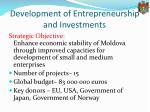 development of entrepreneurship and investments