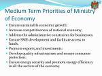 medium term priorities of ministry of economy