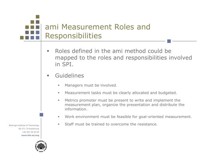 ami Measurement Roles and Responsibilities