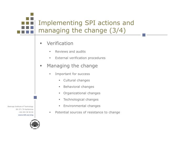 Implementing SPI actions and managing the change (3/4)