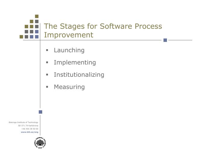 The stages for software process improvement