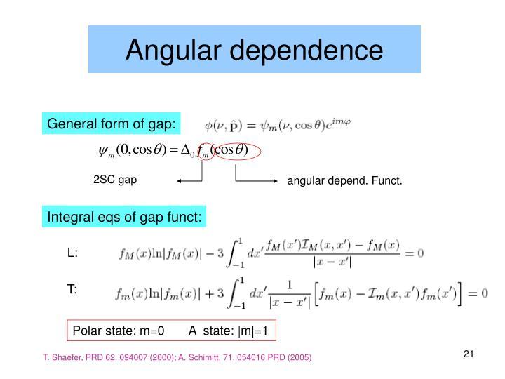 Angular dependence