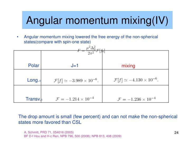 Angular momentum mixing(IV)