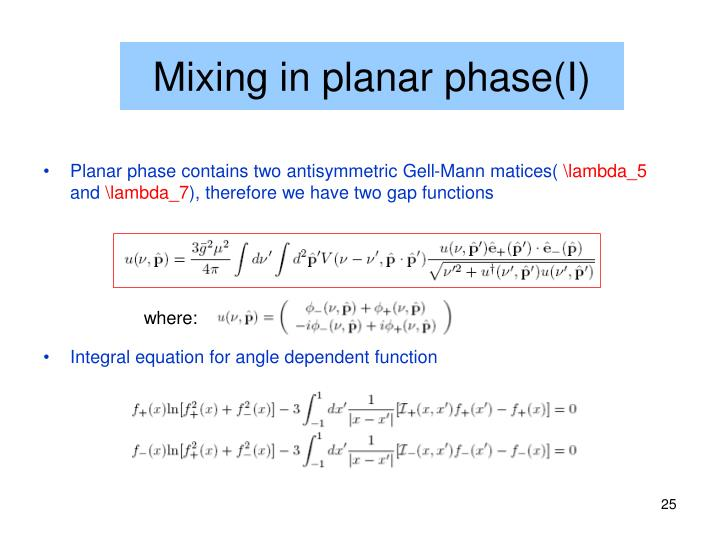 Mixing in planar phase(I)