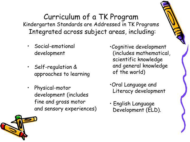 Curriculum of a TK Program