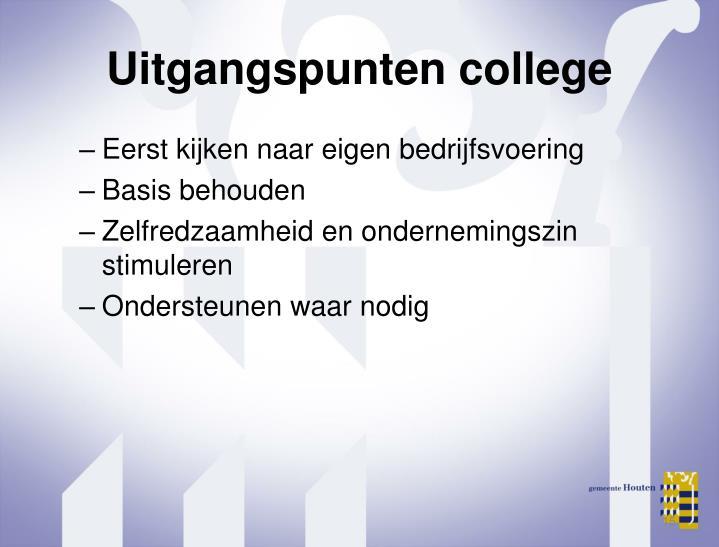 Uitgangspunten college