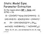 static model eqns parameter extraction2