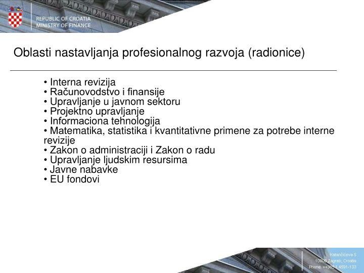 Oblasti nastavljanja profesionalnog razvoja (radionice)