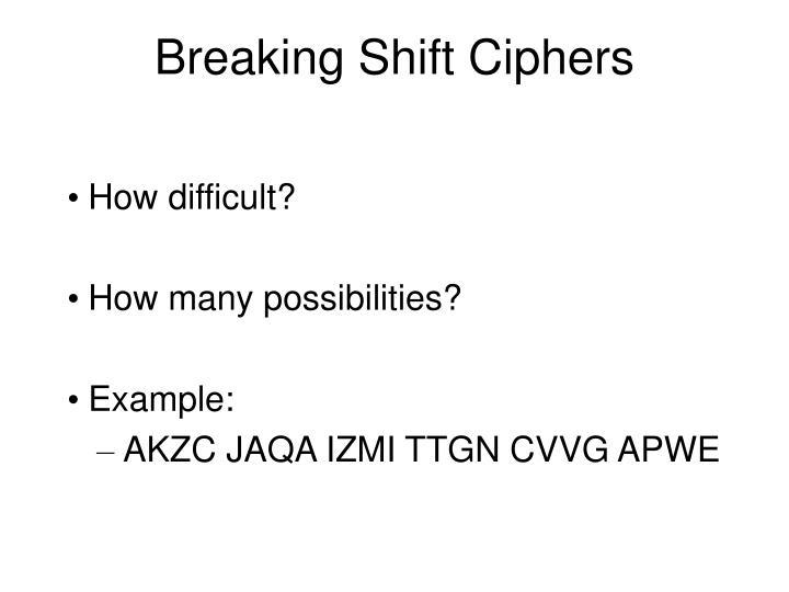 Breaking Shift Ciphers