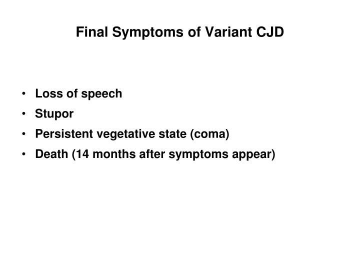 Final Symptoms of Variant CJD