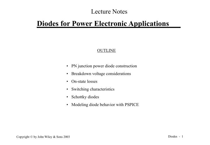 PPT - Diodes for Power Electronic Applications PowerPoint