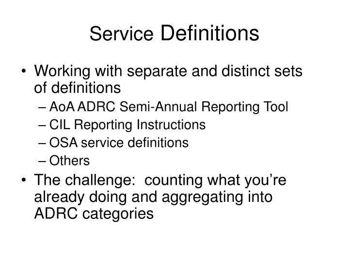 service definitions n.