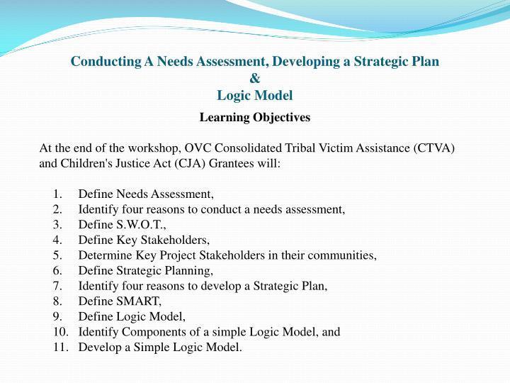 Conducting a needs assessment developing a strategic plan logic model1