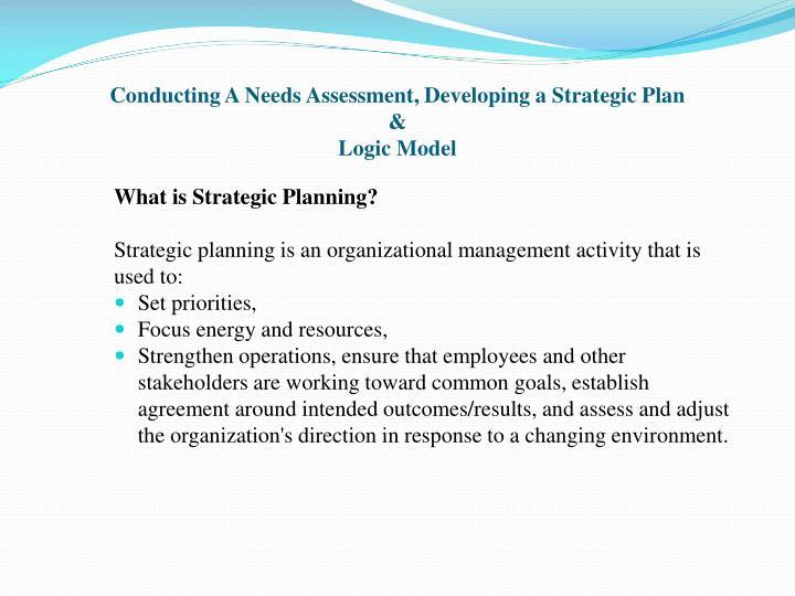 Conducting a needs assessment developing a strategic plan logic model2