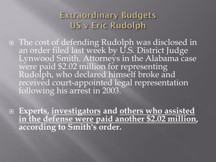 Extraordinary Budgets
