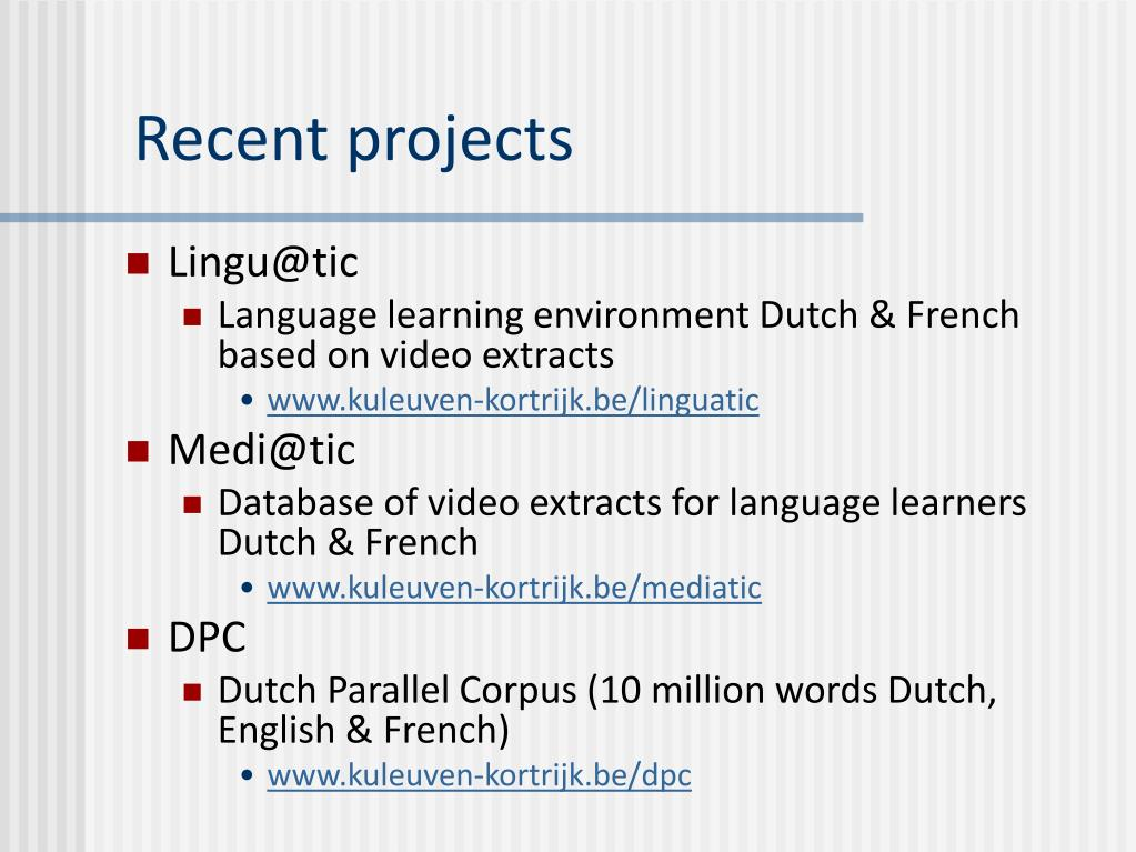 PPT - Research on Human Language Technologies in Flanders