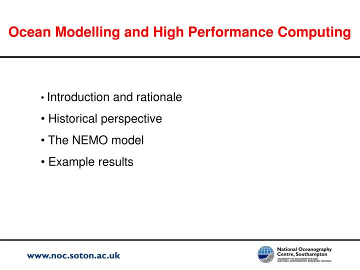 Ocean modelling and high performance computing1