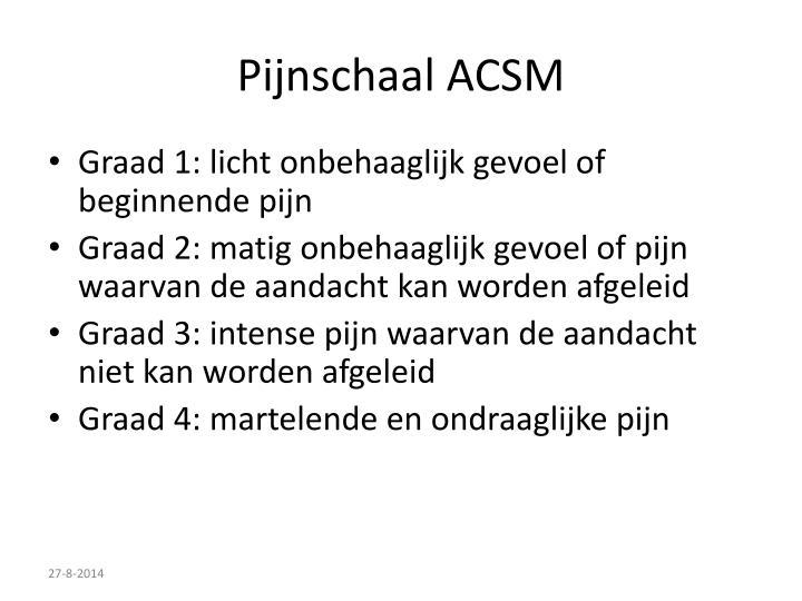 Pijnschaal ACSM