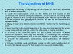 the objectives of iahs