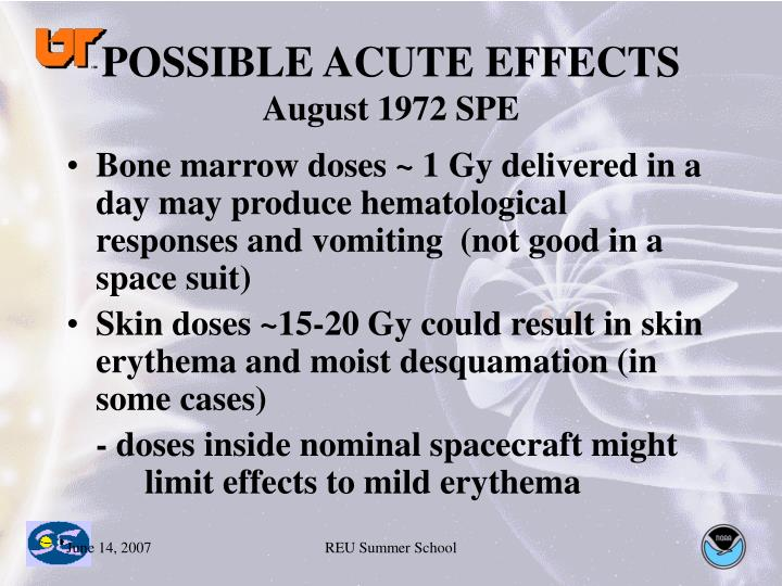 POSSIBLE ACUTE EFFECTS