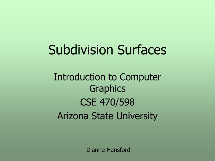 subdivision surfaces n.