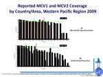 reported mcv1 and mcv2 coverage by country area western pacific region 2009