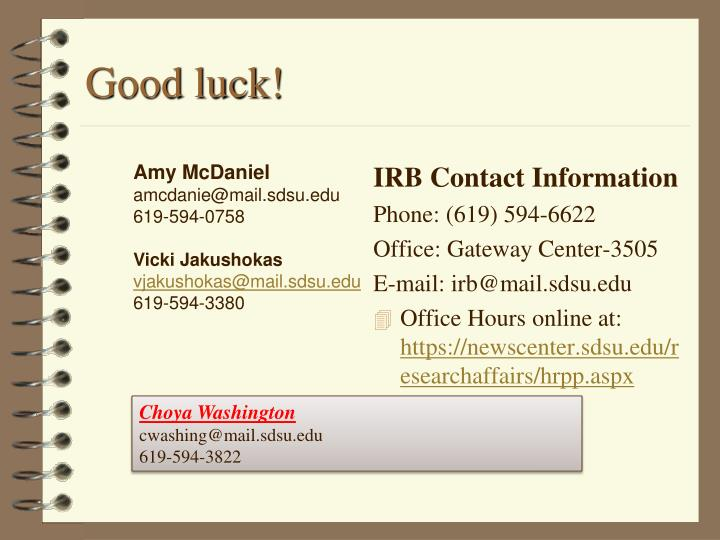 IRB Contact Information