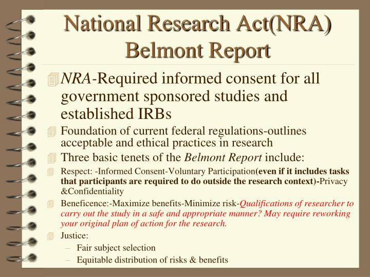 National Research Act(NRA)