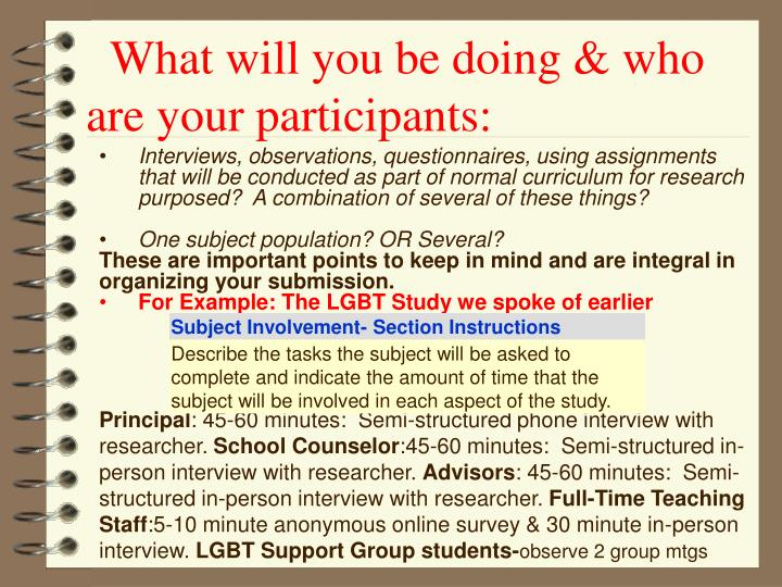 What will you be doing & who       are your participants:
