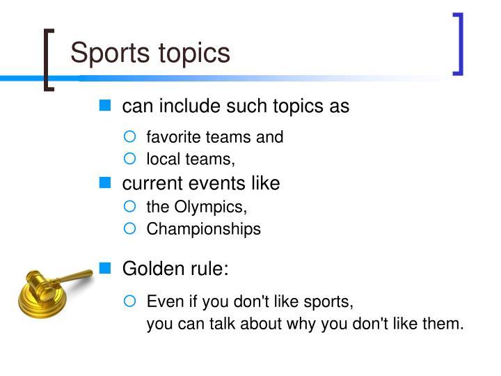 Sports topics