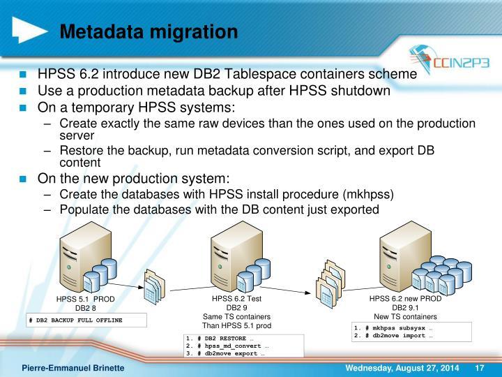 Metadata migration