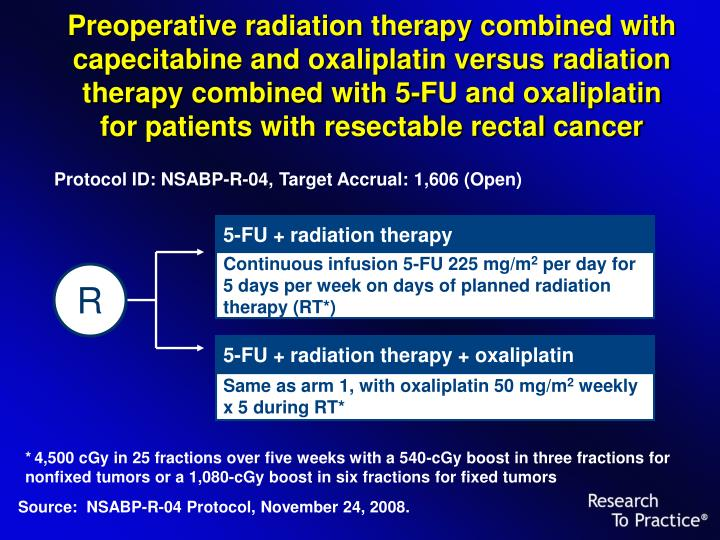 Preoperative radiation therapy combined with capecitabine and oxaliplatin versus radiation therapy c...