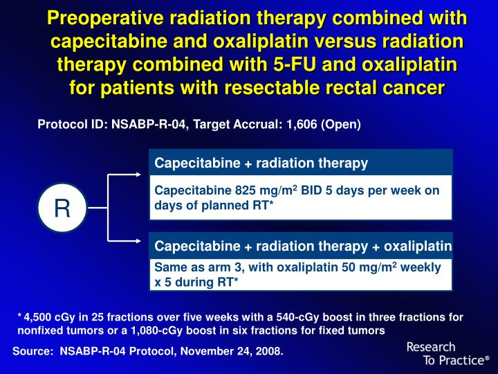 Preoperative radiation therapy combined with capecitabine and oxaliplatin versus radiation therapy combined with 5-FU and oxaliplatin for patients with resectable rectal cancer