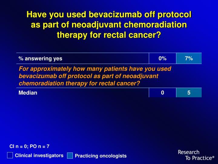 Have you used bevacizumab off protocol