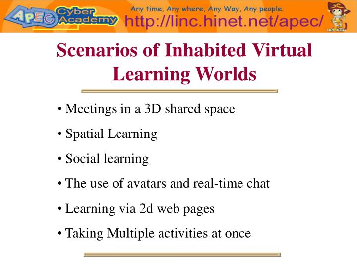 Scenarios of Inhabited Virtual Learning Worlds