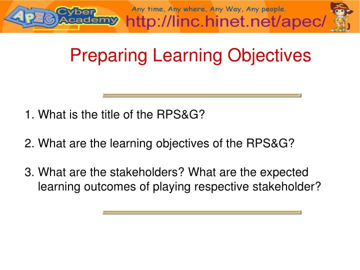 Preparing Learning Objectives