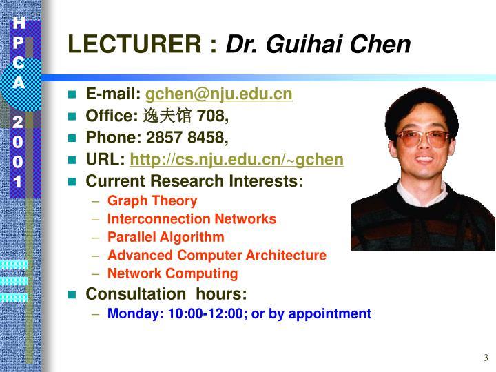 Lecturer dr guihai chen