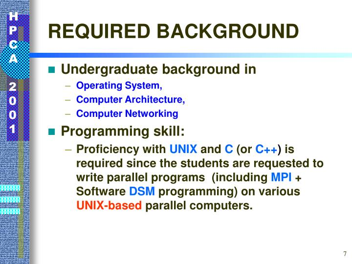 REQUIRED BACKGROUND