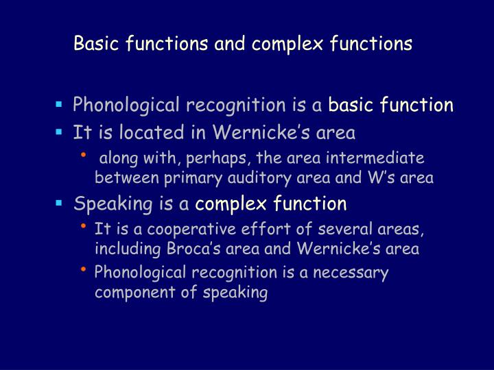 Basic functions and complex functions