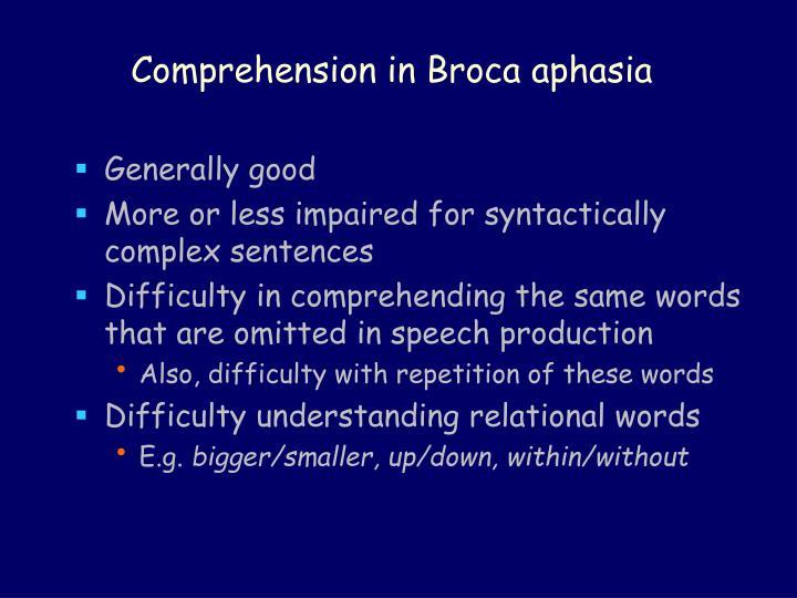Comprehension in Broca aphasia