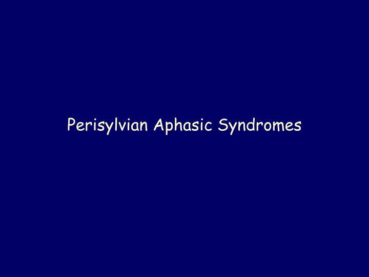 Perisylvian Aphasic Syndromes