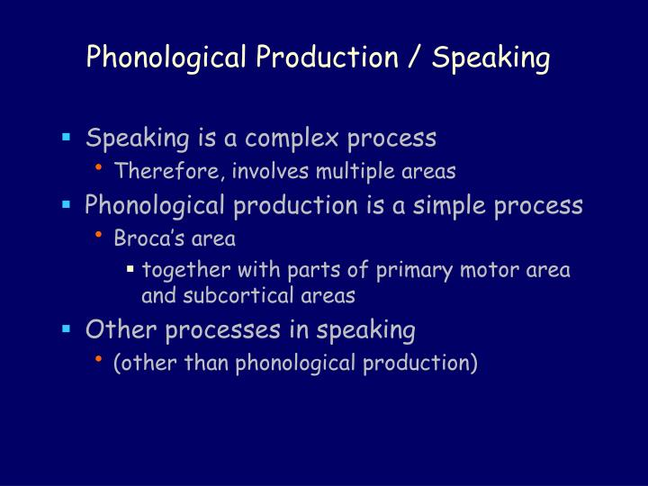 Phonological Production / Speaking